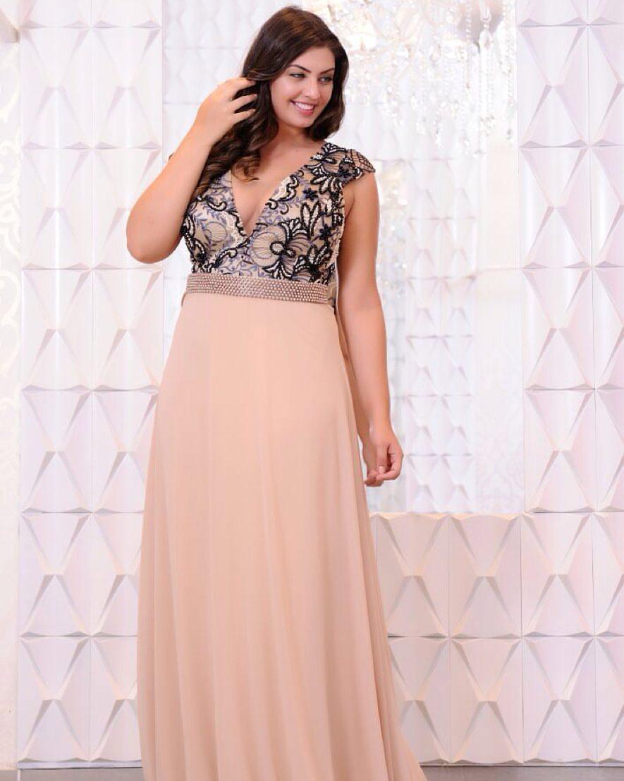 Vestido de festa rosa nude plus size - Aluguel de Vestidos